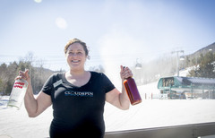 A Cloudspin bar waitress with ingredients for a bloody mary