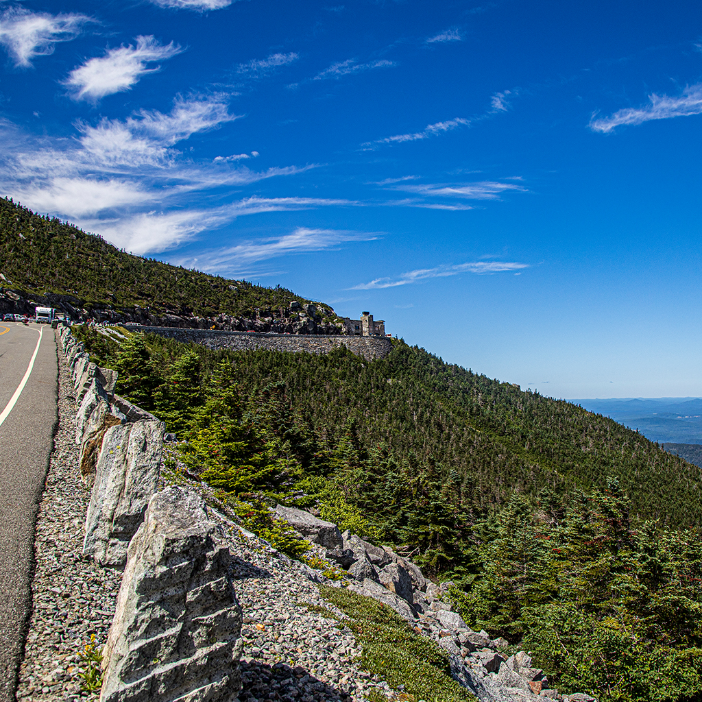 View of the castle from the top of the Whiteface Veterans' Memorial Highway.