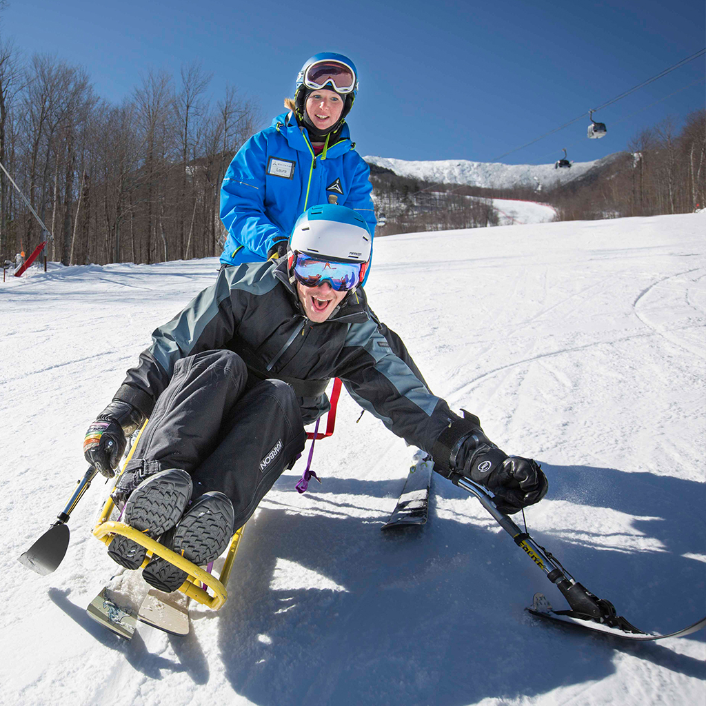 Adaptive Monoski on Bear Trail with Whiteface Instructor.