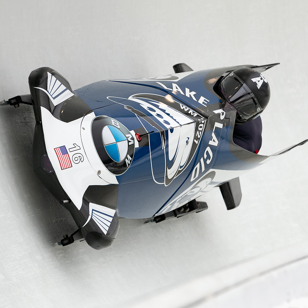 One man bobsled up close on track.