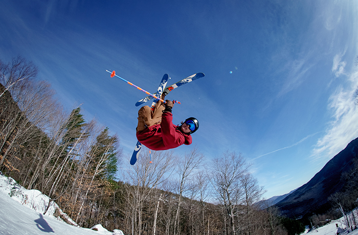 Skier in the air at Brookside Park.