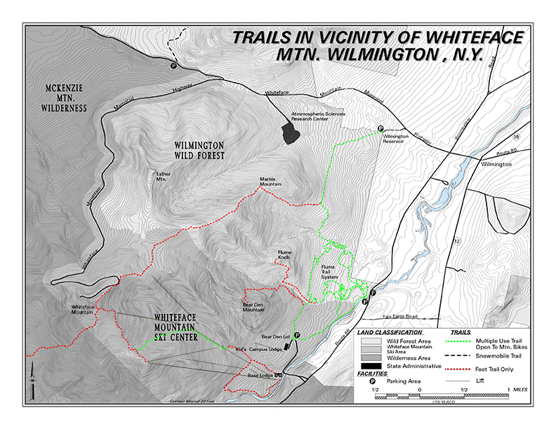 Trails in the vicinity of Whiteface Mountain