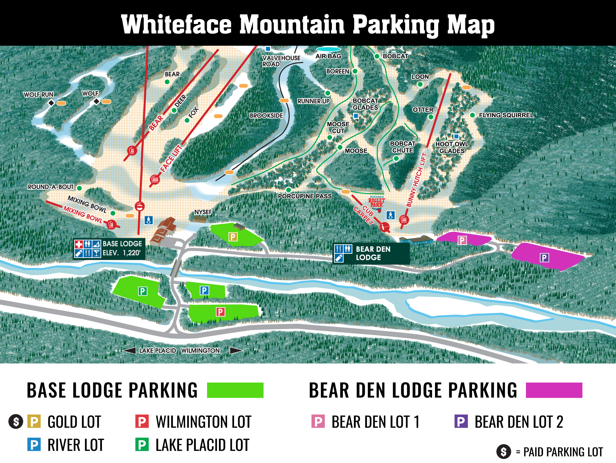 Whiteface Mountain Parking Map