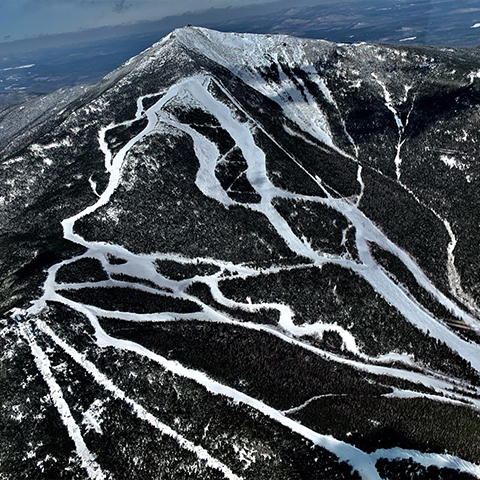 Aerial view of Whiteface Mountain's NE face from the SE side.