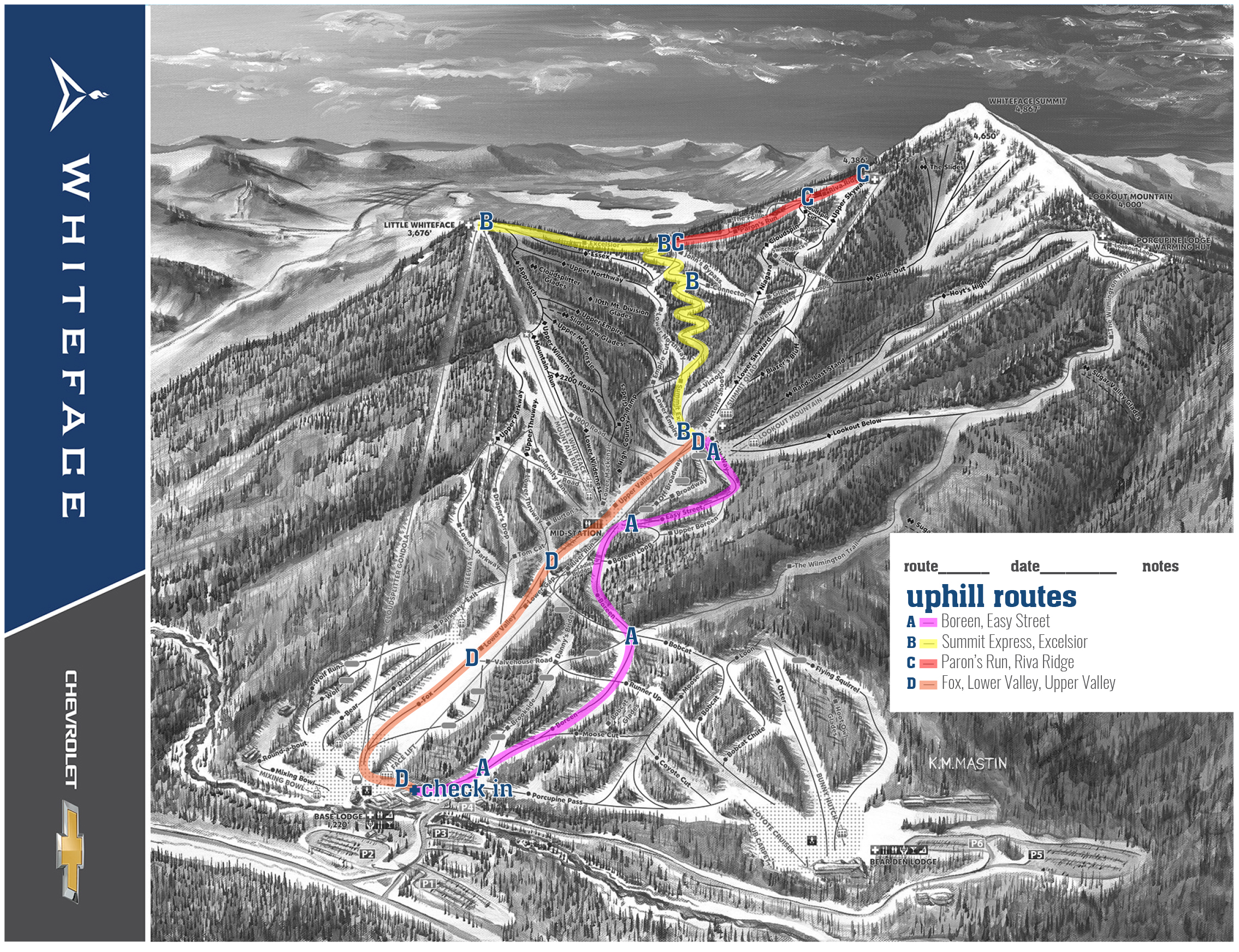 Black & White trail map of Whiteface with Uphill Routes A, B, C, D.