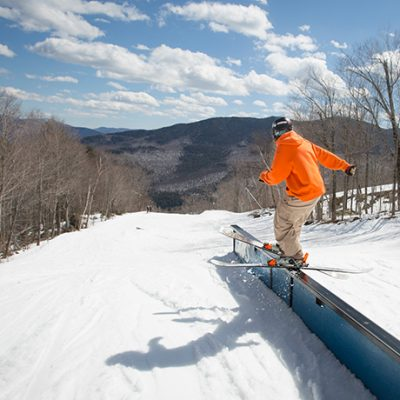 Skier on the flat rail in Broadway Park at Whiteface.