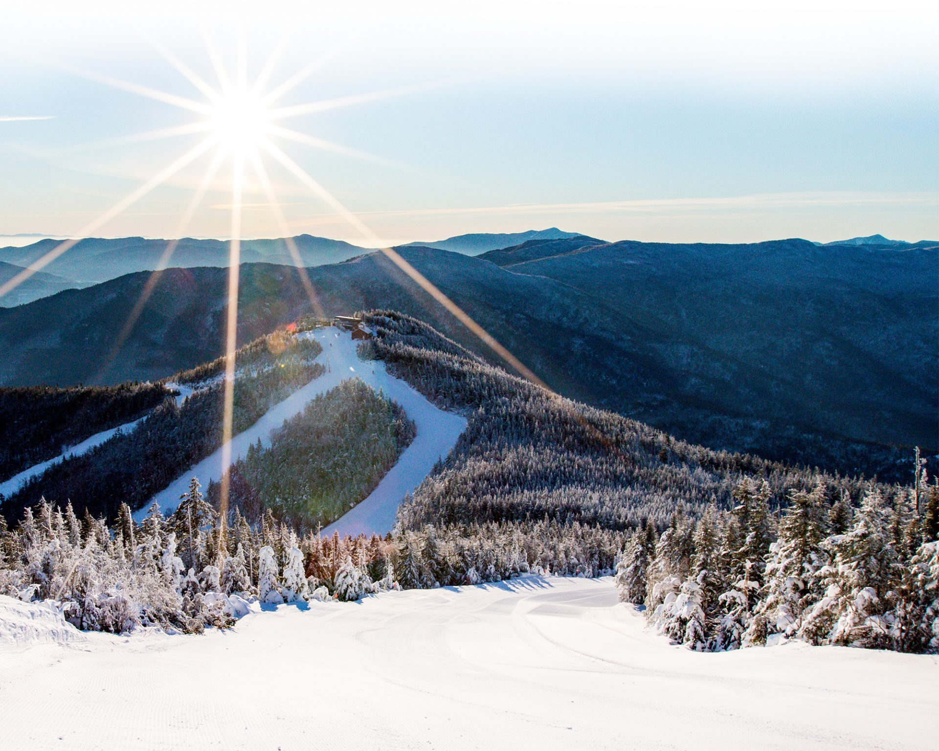 Scenic view of Little Whiteface in winter from Paron's Run